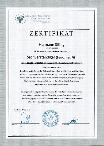 hermann Silling zertifikat